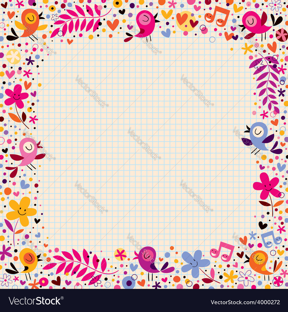 Floral border with birds vector | Price: 1 Credit (USD $1)