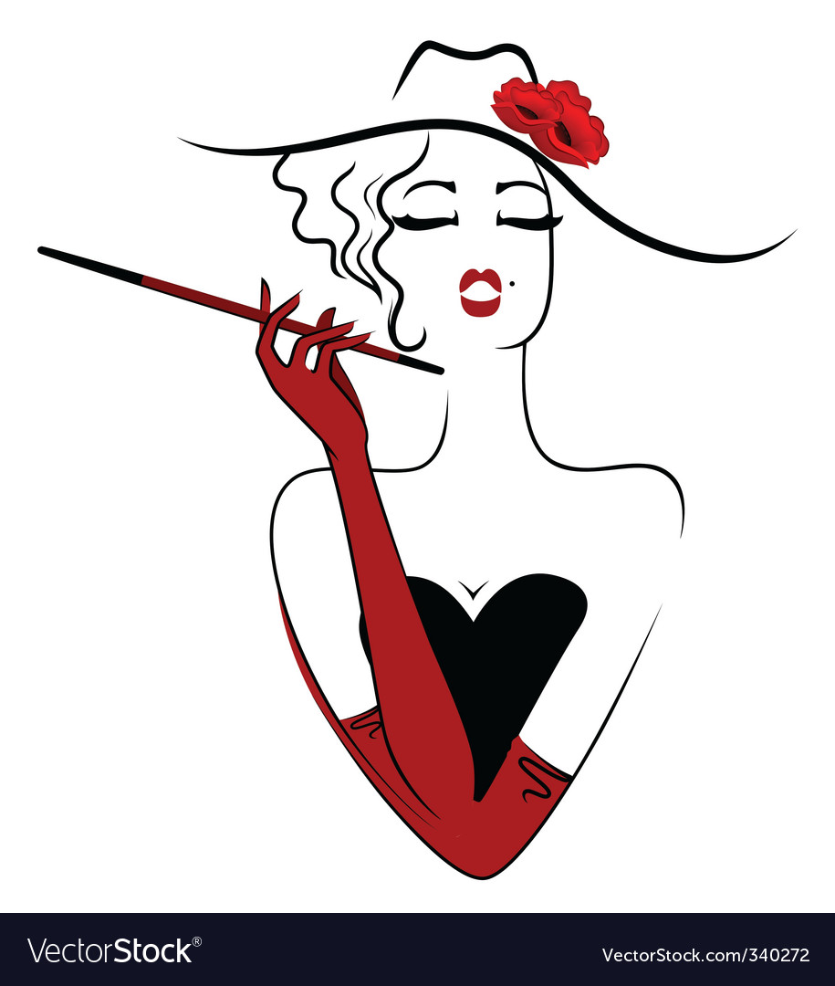 Girl with cigar vector | Price: 1 Credit (USD $1)
