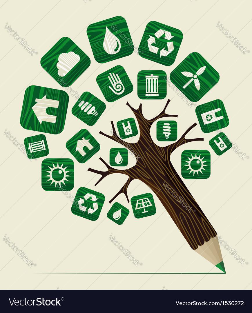 Green world concept pencil tree vector | Price: 1 Credit (USD $1)
