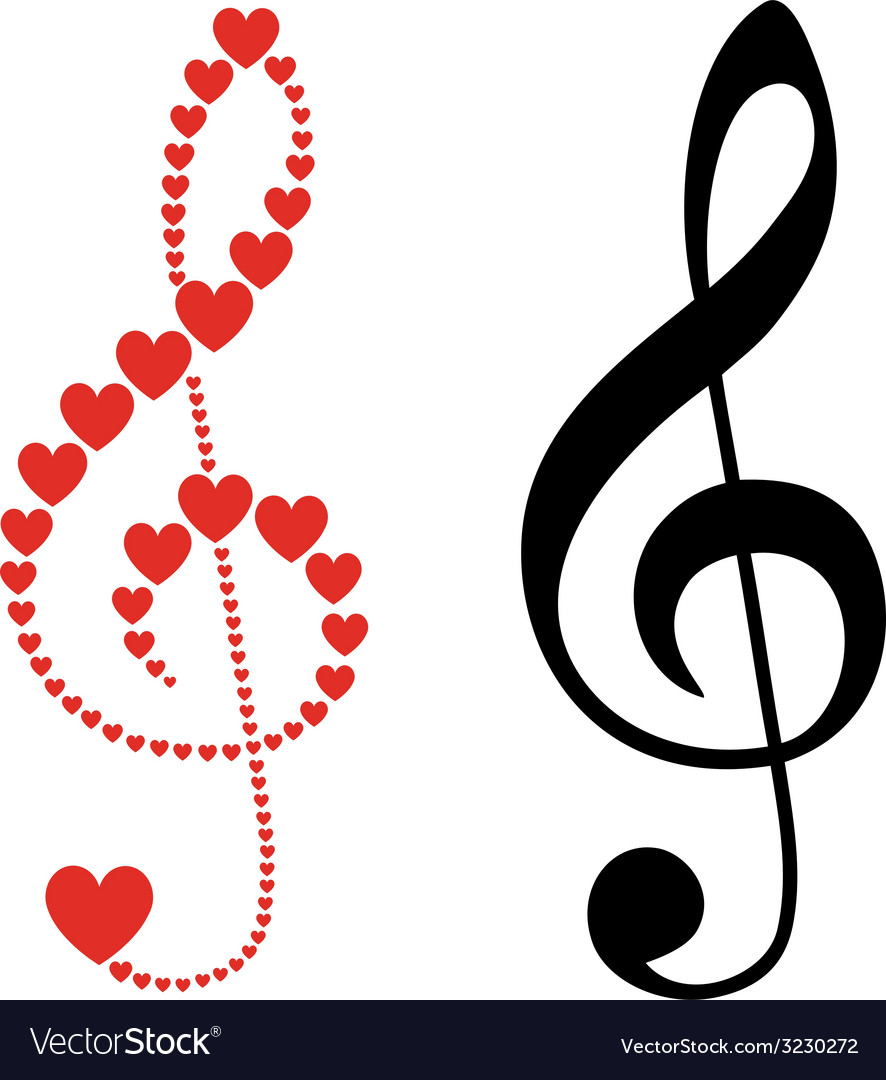 Hearts violin clef vector | Price: 1 Credit (USD $1)