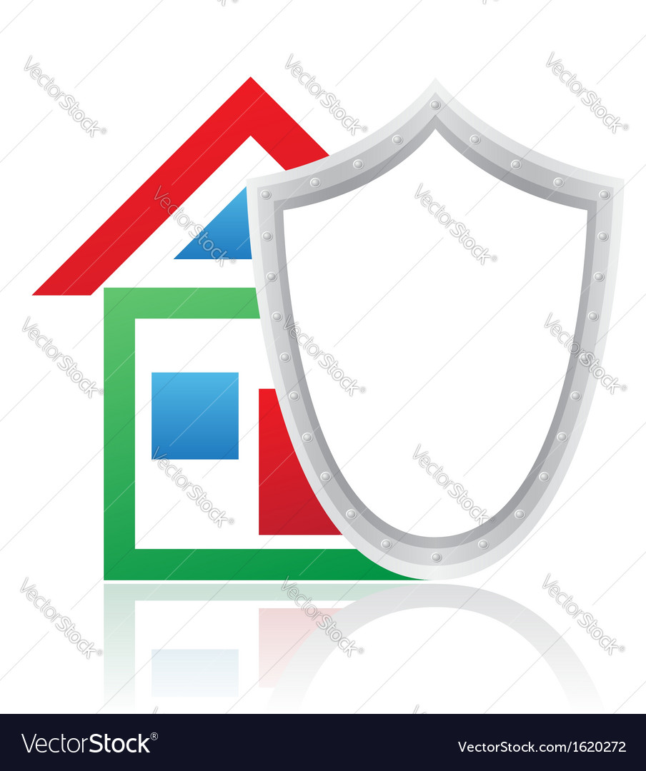 House and shield concept vector | Price: 1 Credit (USD $1)