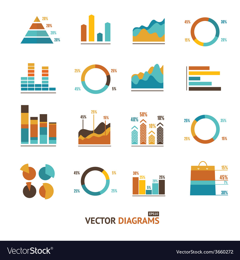 Infographic set elements graph diagrams vector | Price: 1 Credit (USD $1)