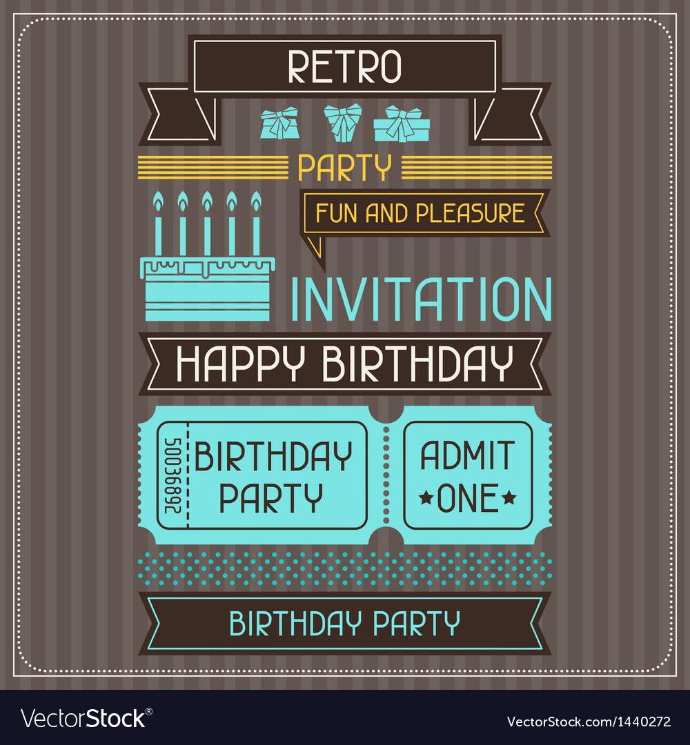 Invitation card for birthday in retro style vector | Price: 1 Credit (USD $1)