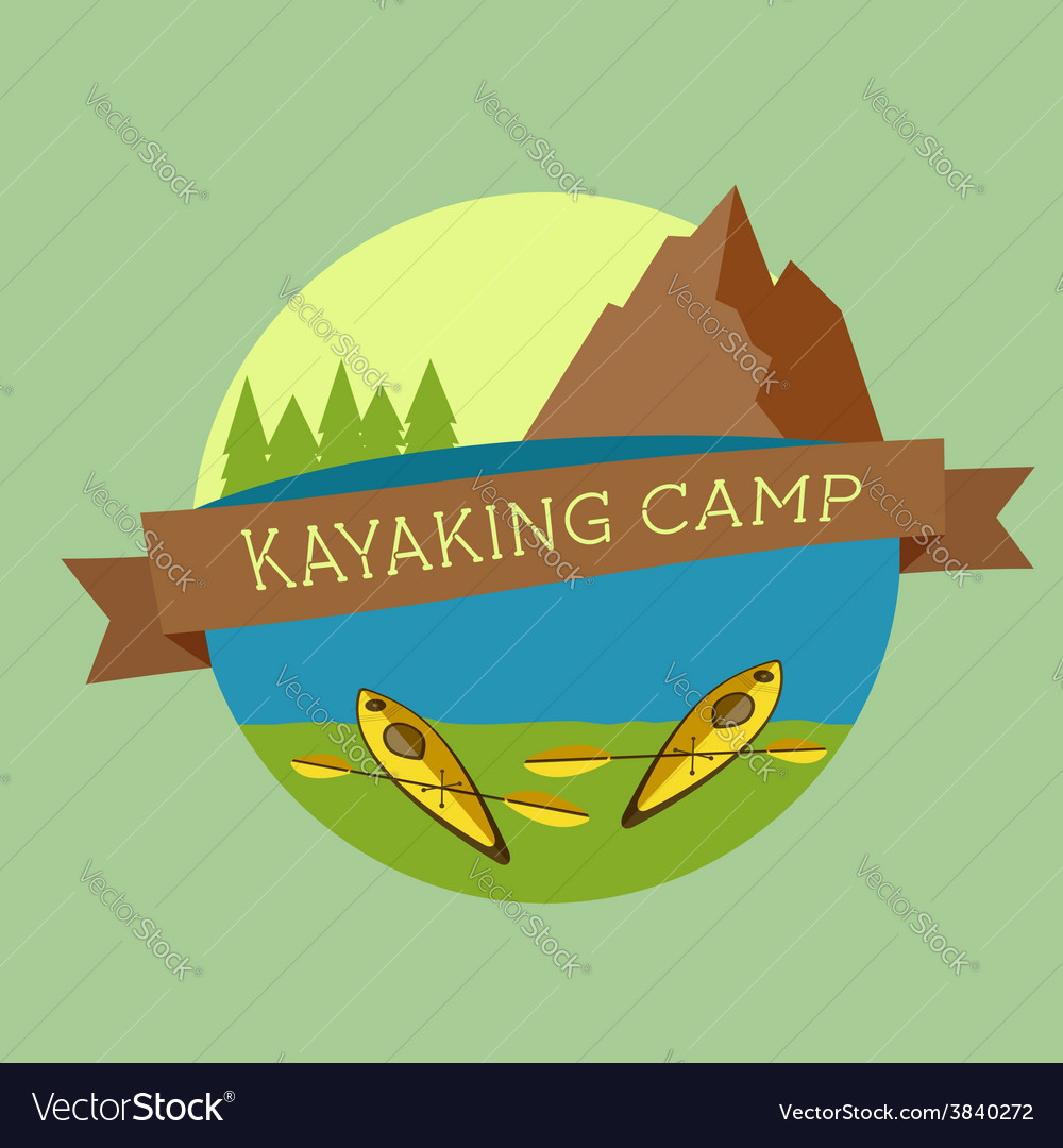 Kayaking camp logo expedition label and sticker vector | Price: 1 Credit (USD $1)