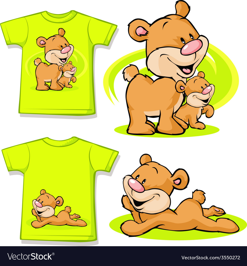 Kid shirt with cute bear in love printed - vector | Price: 1 Credit (USD $1)