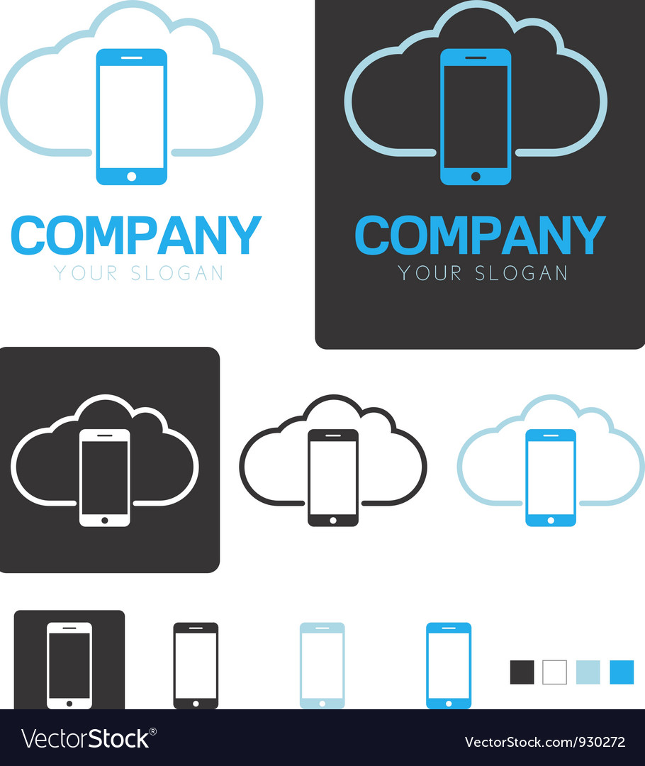 Mobile cloud computing company logo template vector | Price: 1 Credit (USD $1)