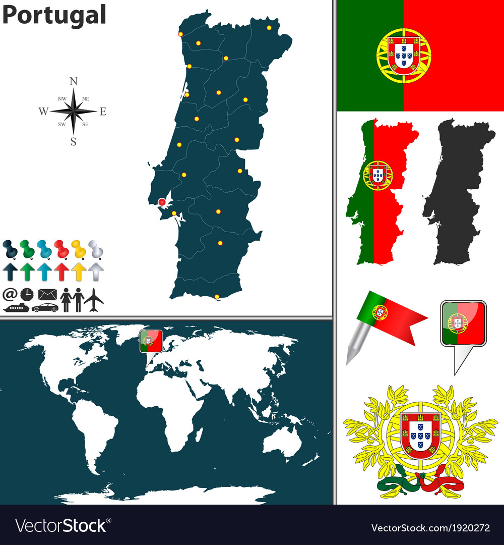 Portugal map world vector | Price: 1 Credit (USD $1)