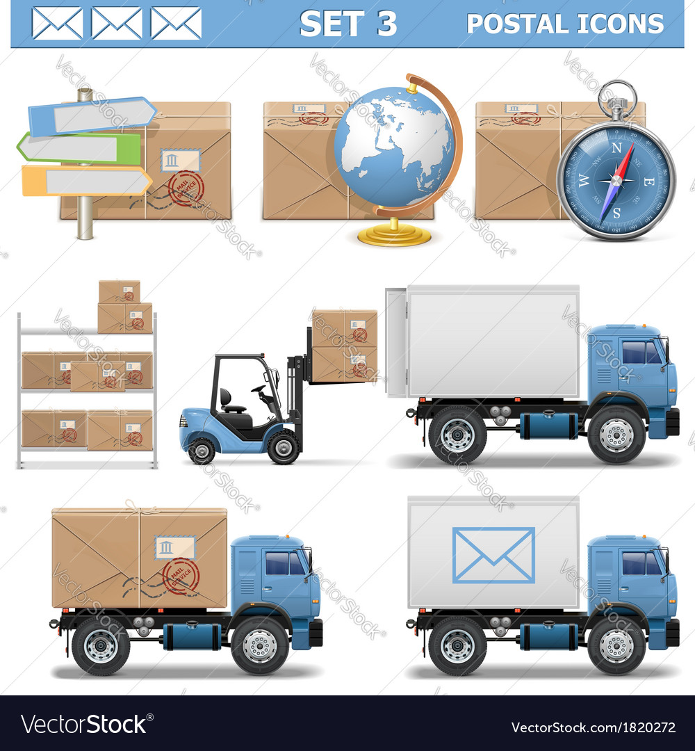 Postal icons set 3 vector | Price: 3 Credit (USD $3)