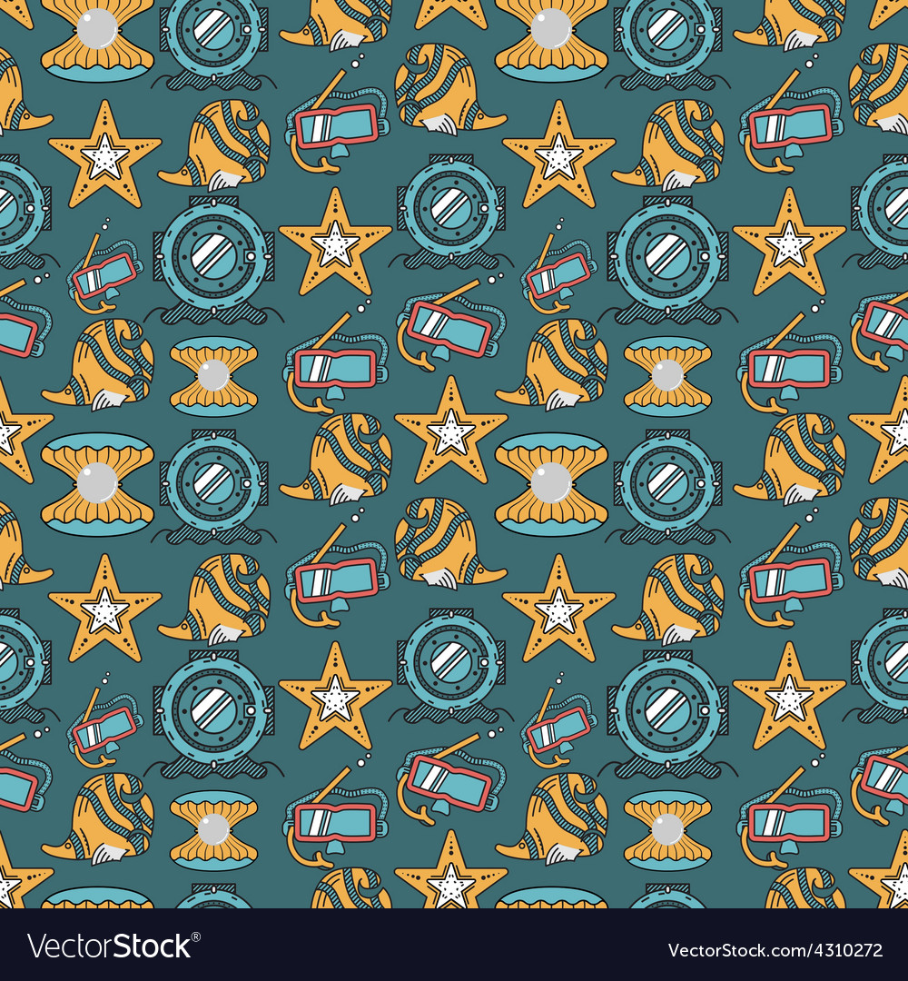 Scuba diving colored background vector | Price: 1 Credit (USD $1)