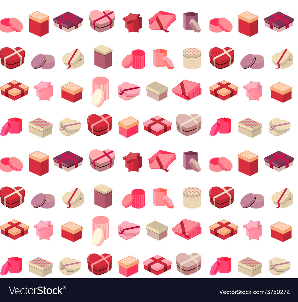 Seamless pattern with different gift boxes vector | Price: 1 Credit (USD $1)