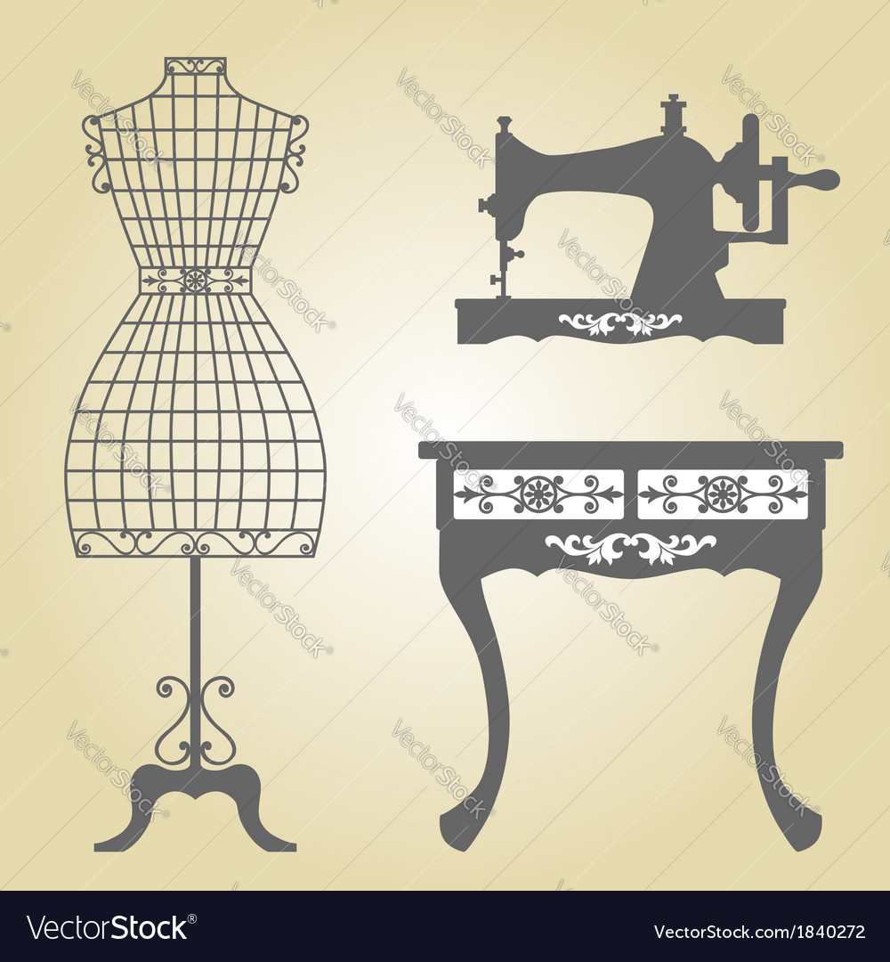 Vintage mannequin and sewing machine vector | Price: 1 Credit (USD $1)