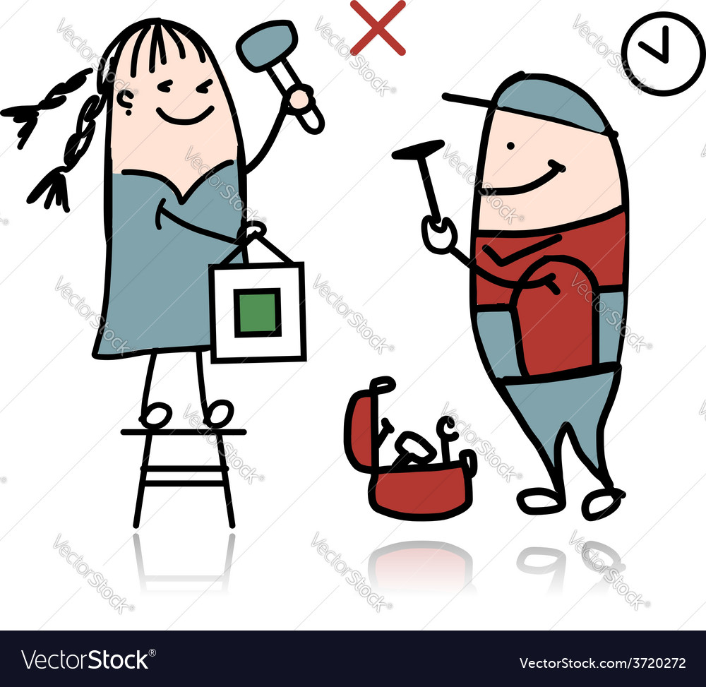Woman and repairman sketch for your design vector | Price: 1 Credit (USD $1)