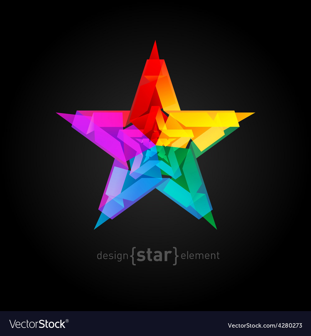 Abstract star overlying star shapes on black vector | Price: 1 Credit (USD $1)