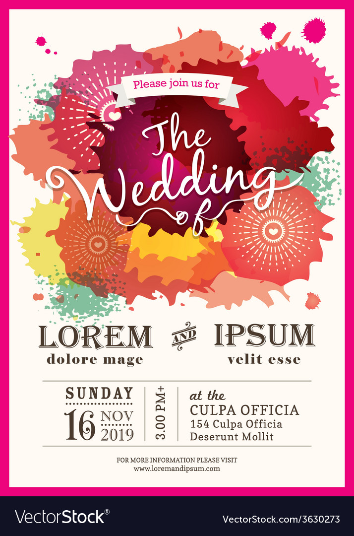 Color splash wedding party invitation card vector | Price: 1 Credit (USD $1)