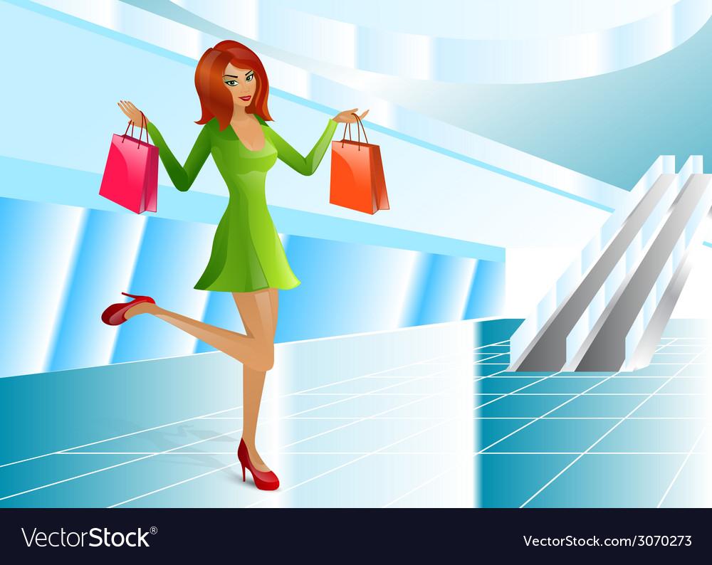Girl supermarket package vector | Price: 1 Credit (USD $1)