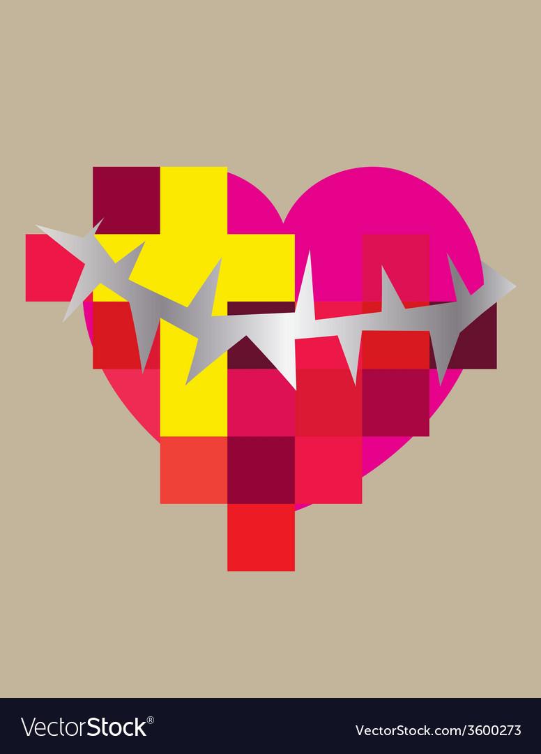 Heart cross contemporary vector | Price: 1 Credit (USD $1)