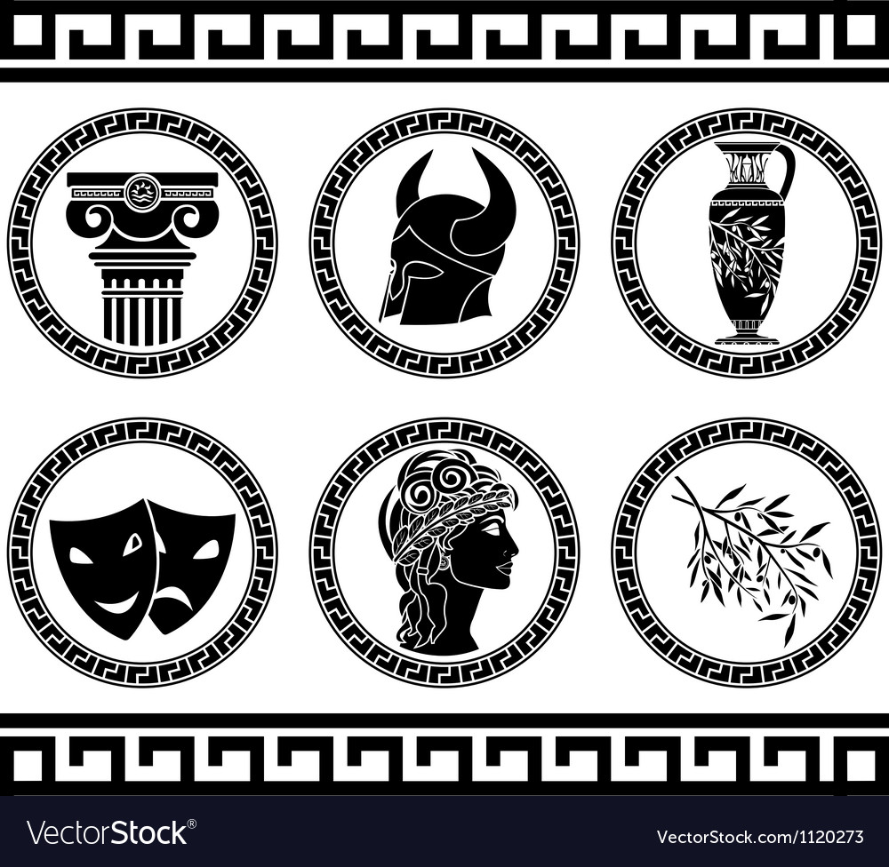 Hellenic buttons stencil fifth variant vector | Price: 1 Credit (USD $1)