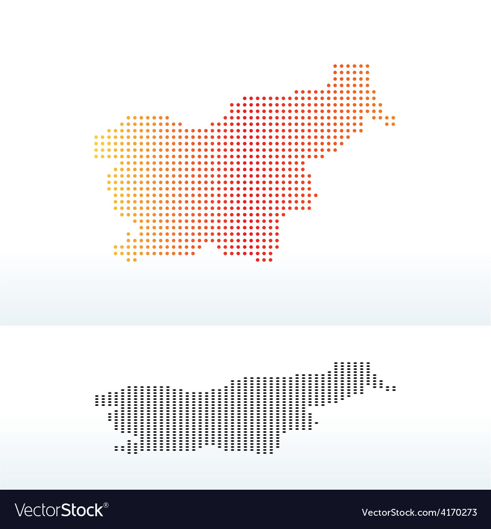 Map of republic slovenia with dot pattern vector | Price: 1 Credit (USD $1)