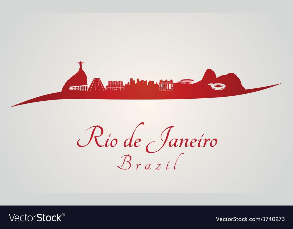 Rio de janeiro skyline in red vector | Price: 1 Credit (USD $1)