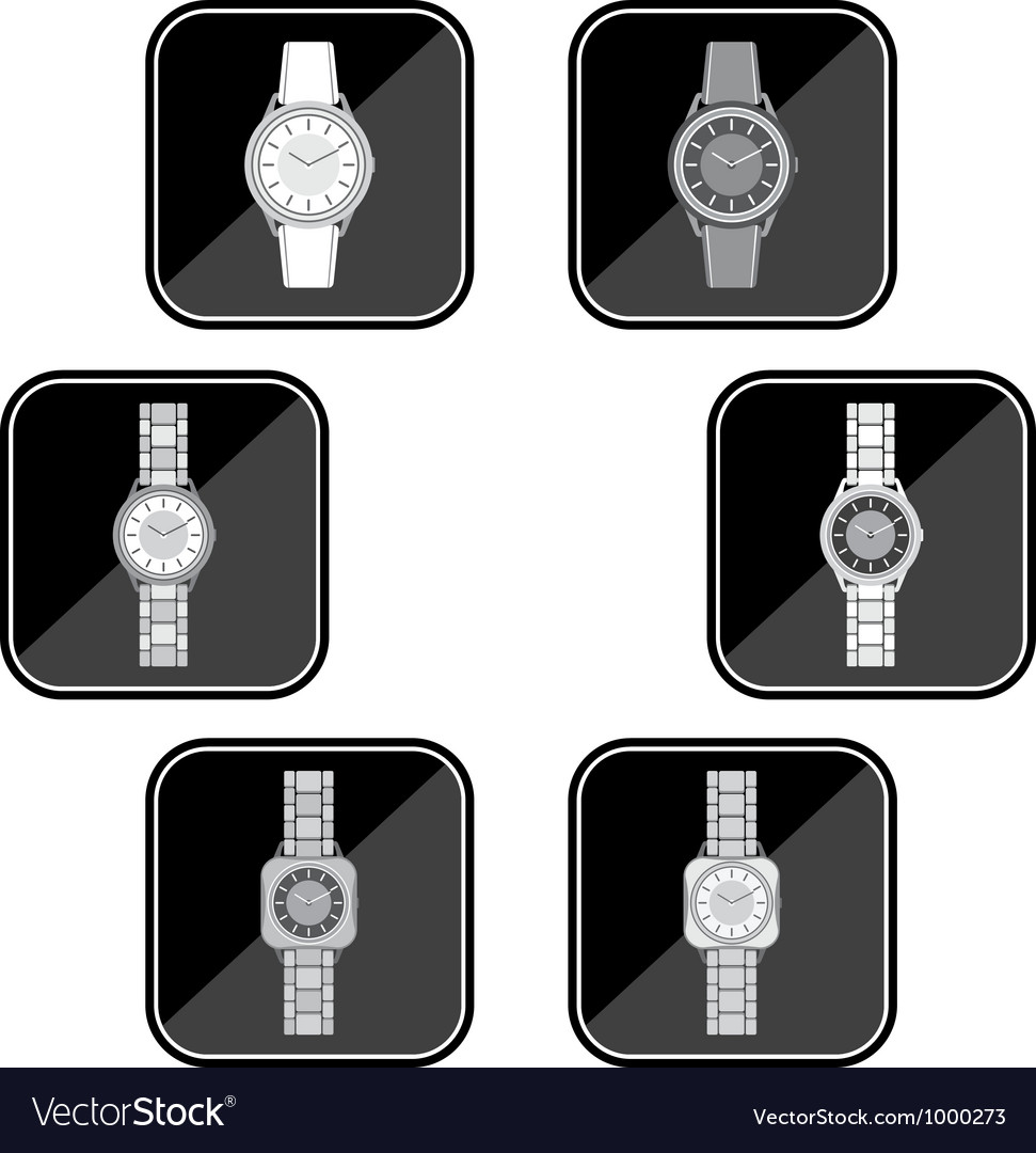 Set of black icons of a female watch vector | Price: 1 Credit (USD $1)