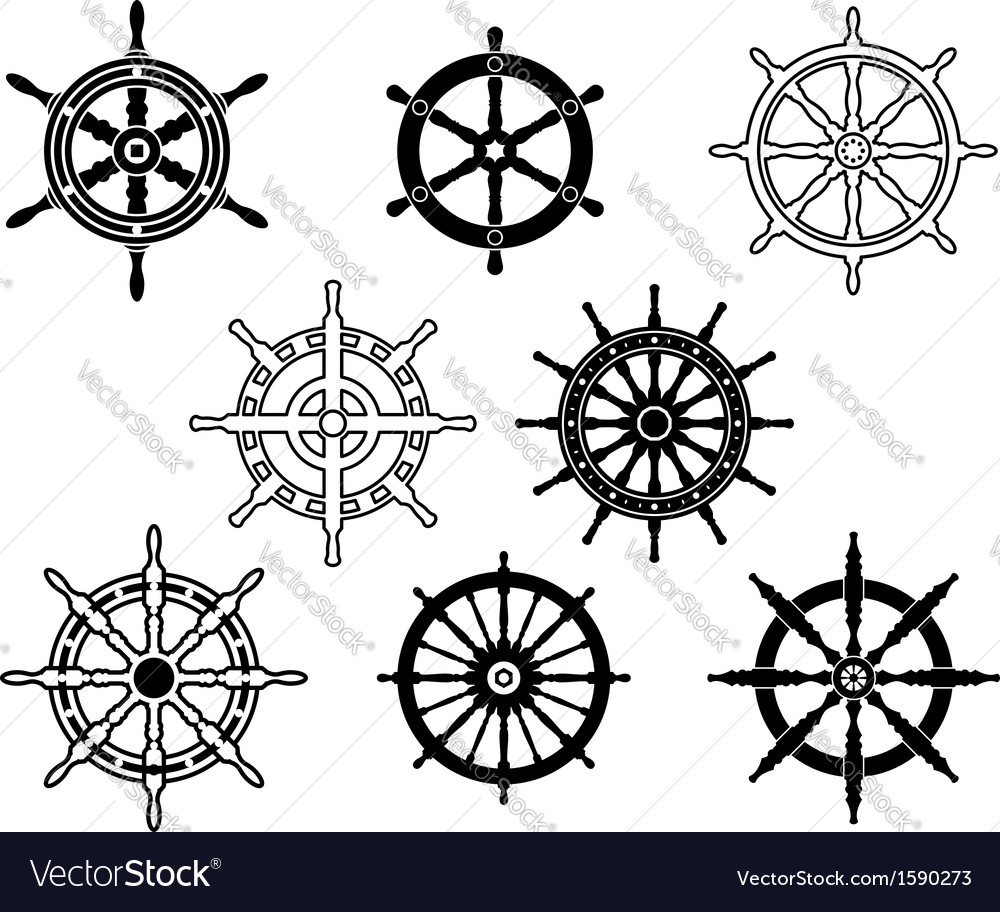 Steering wheels set for heraldry design vector | Price: 1 Credit (USD $1)