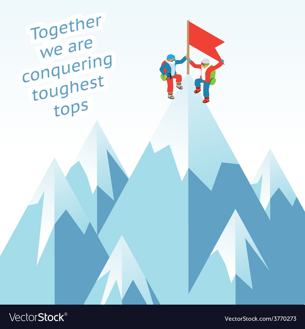 Synergy concept business mountain climbing in vector