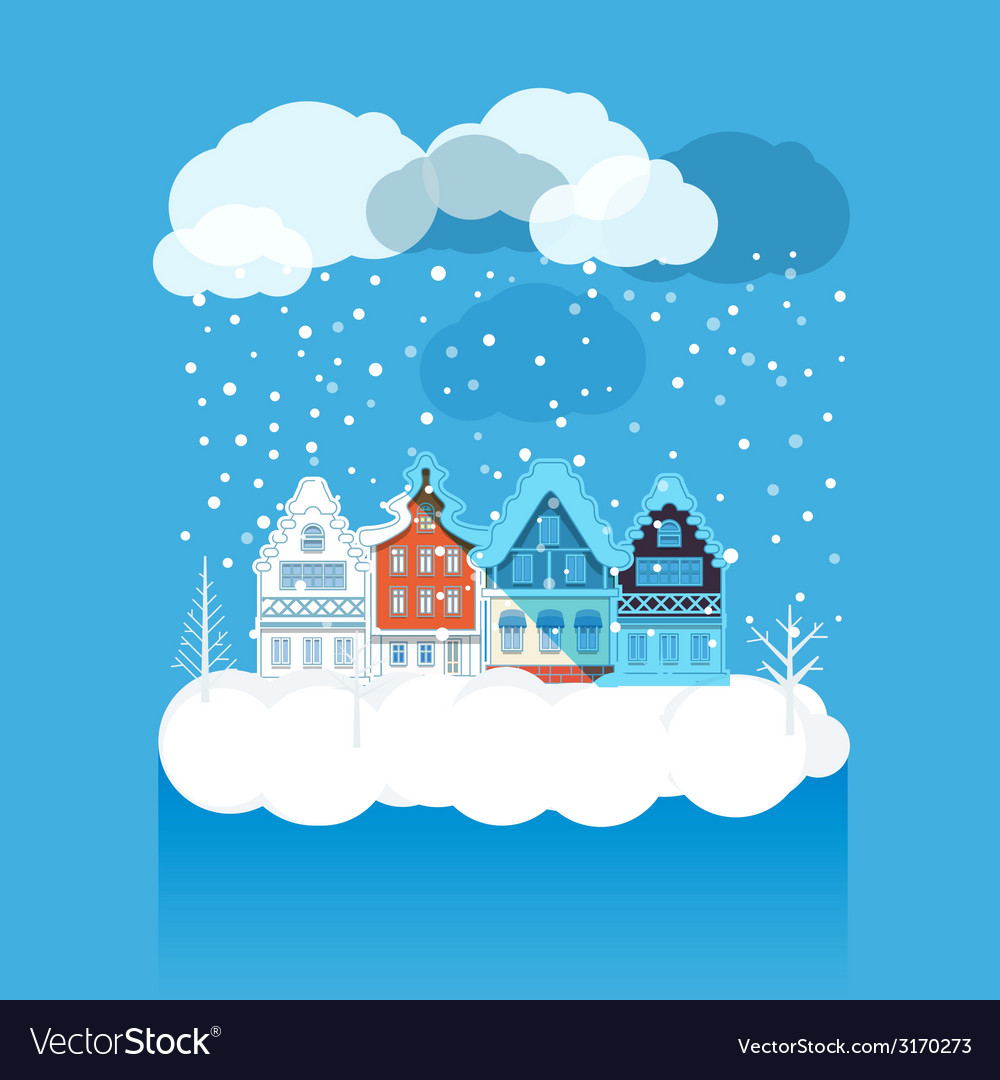 Vintage buildings with snowfall on winter vector | Price: 1 Credit (USD $1)