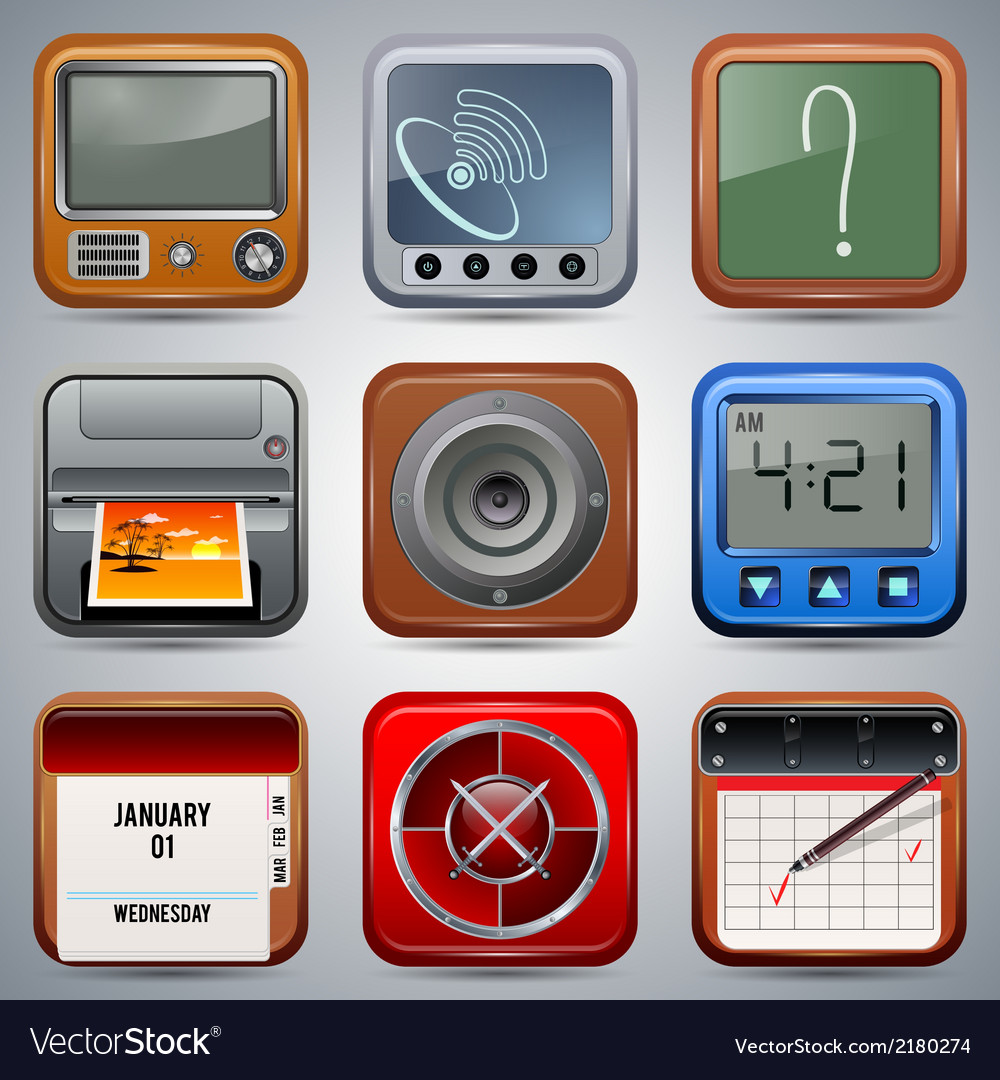 Application icons set vector | Price: 1 Credit (USD $1)