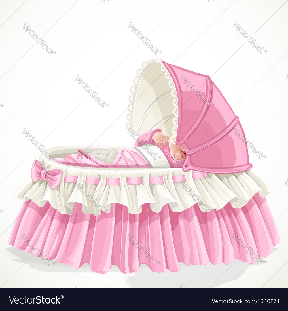 Baby in pink cradle isolated on white background vector   Price: 1 Credit (USD $1)