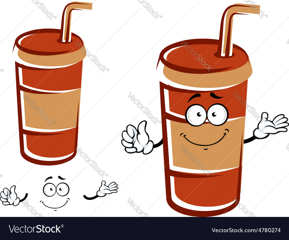 Cartoon takeaway cup with drinking straw character vector | Price: 1 Credit (USD $1)