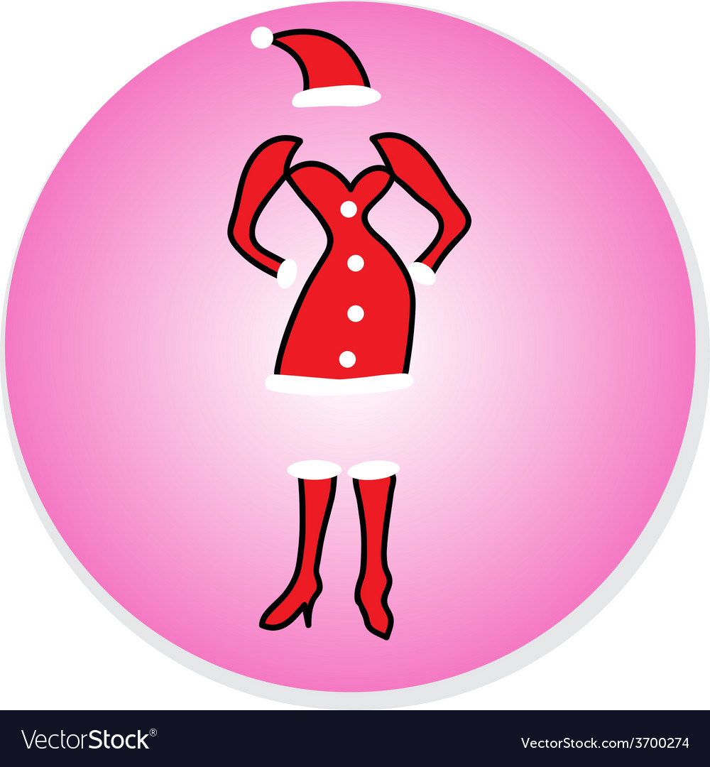 Christmas girl dress in santa claus icon vector | Price: 1 Credit (USD $1)