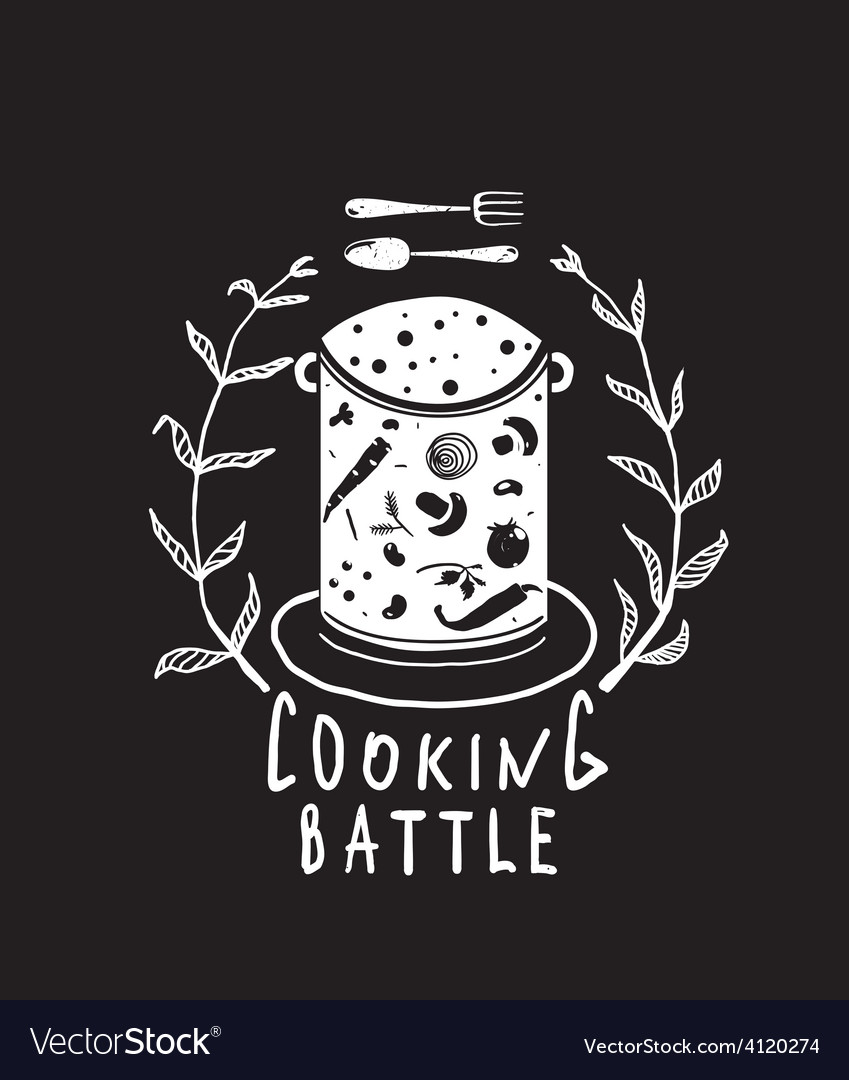 Cooking battle sign with laurel and label vector   Price: 1 Credit (USD $1)