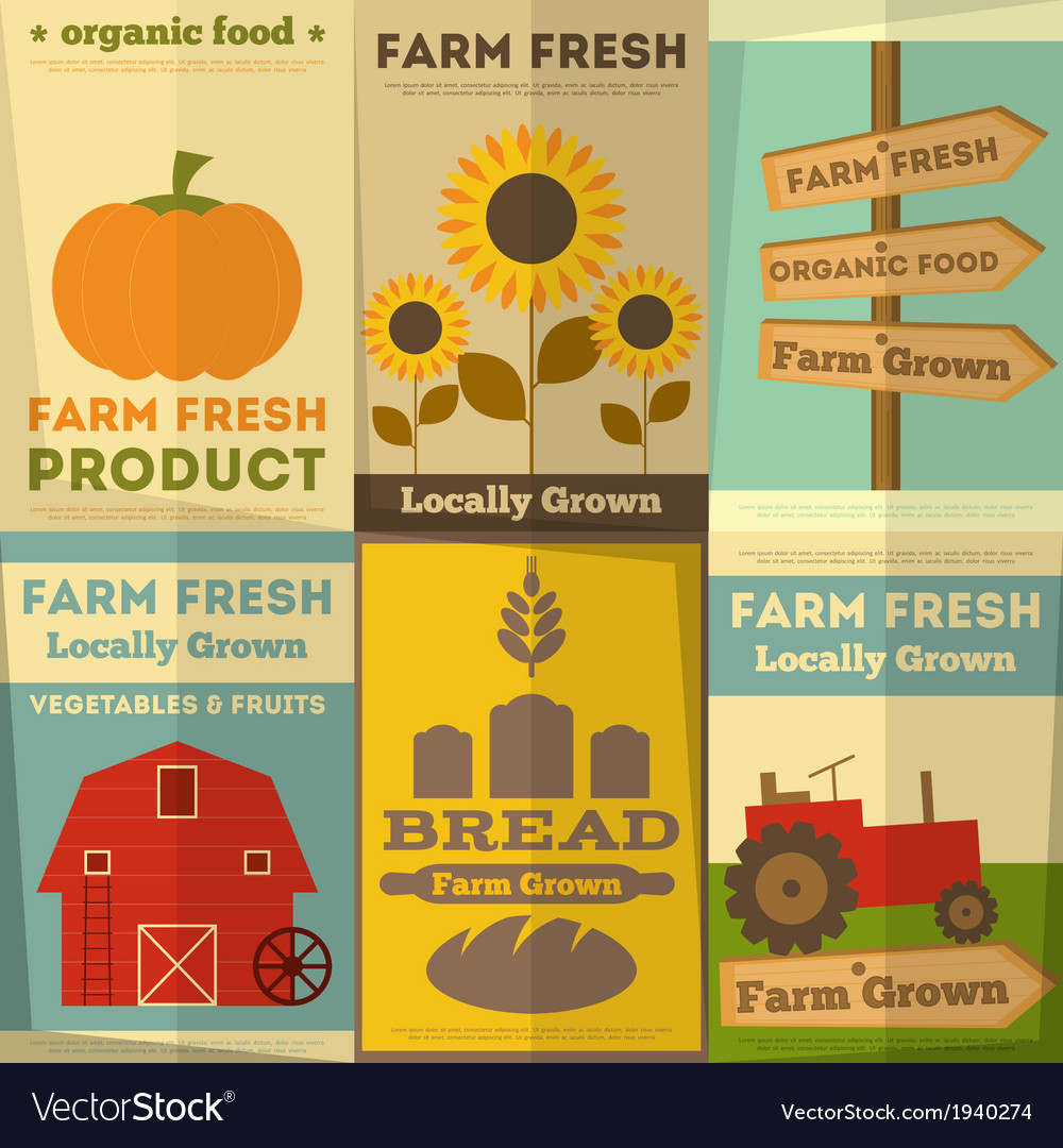 Farm food posters vector | Price: 1 Credit (USD $1)