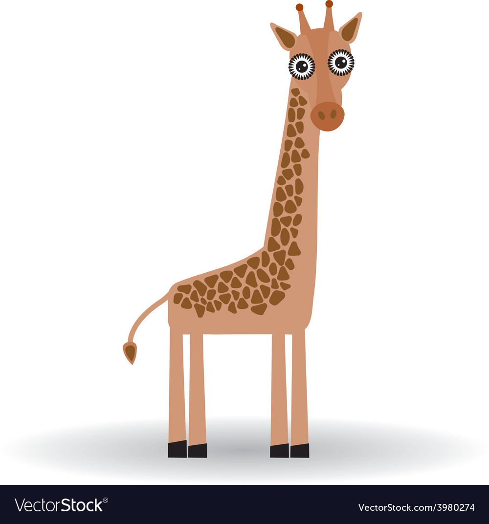 Funny giraffe on white background vector | Price: 1 Credit (USD $1)