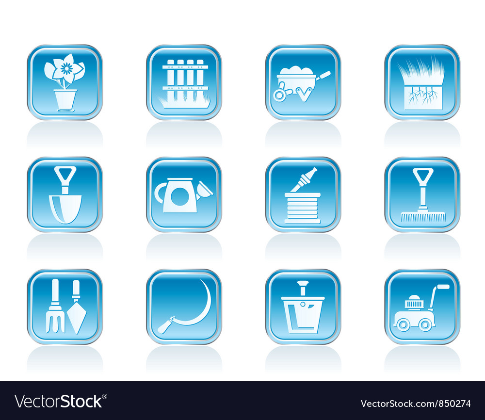 Garden and gardening tools icons vector | Price: 1 Credit (USD $1)