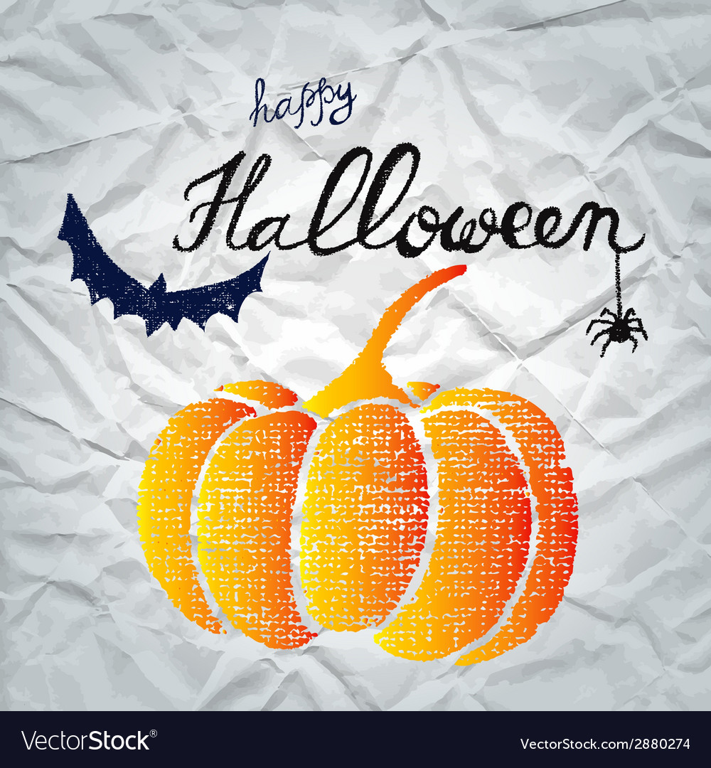 Happy halloween greeting card with pumpkin vector | Price: 1 Credit (USD $1)
