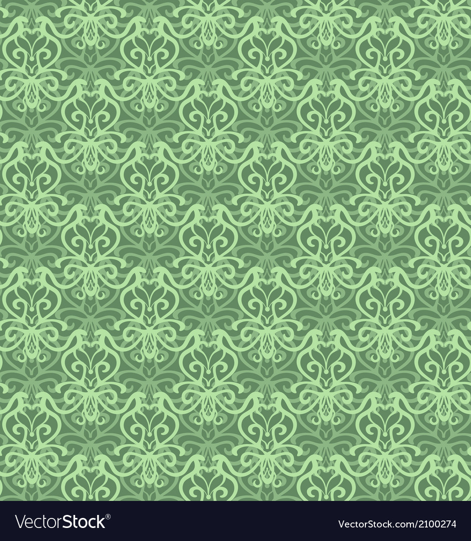 Intricate green luxury seamless pattern on dark vector | Price: 1 Credit (USD $1)