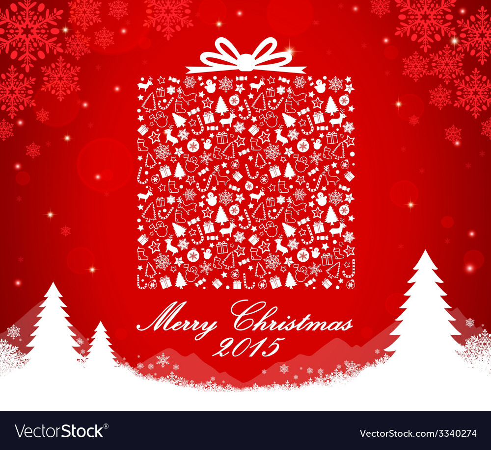 Merry christmas gift box shape vector | Price: 1 Credit (USD $1)