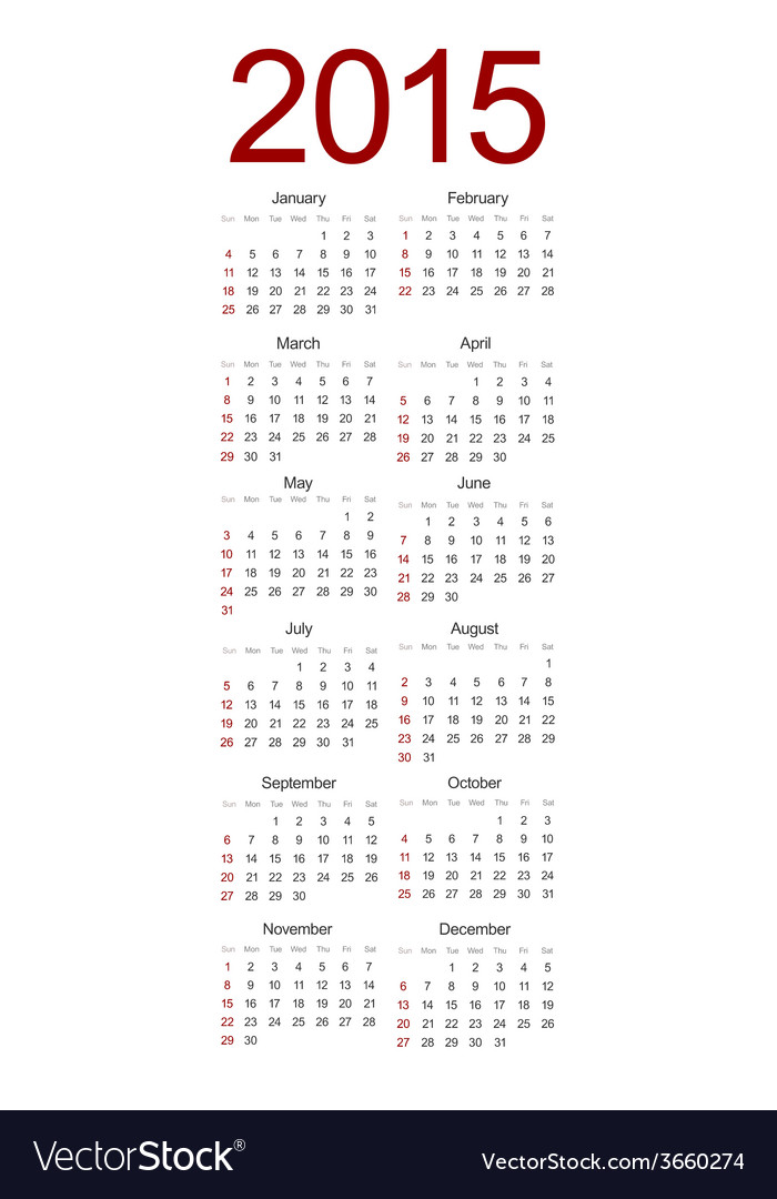 Modern 2015 calendar on white vector | Price: 1 Credit (USD $1)