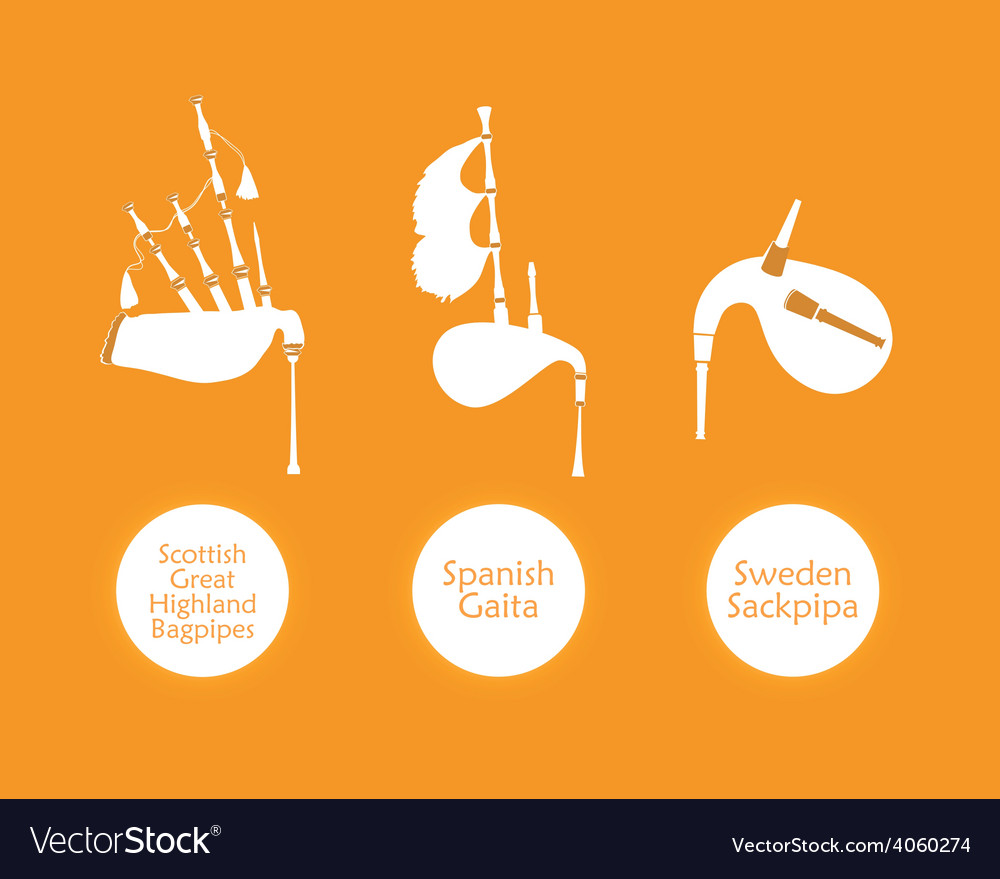 Poster with most popular bagpipes vector | Price: 1 Credit (USD $1)