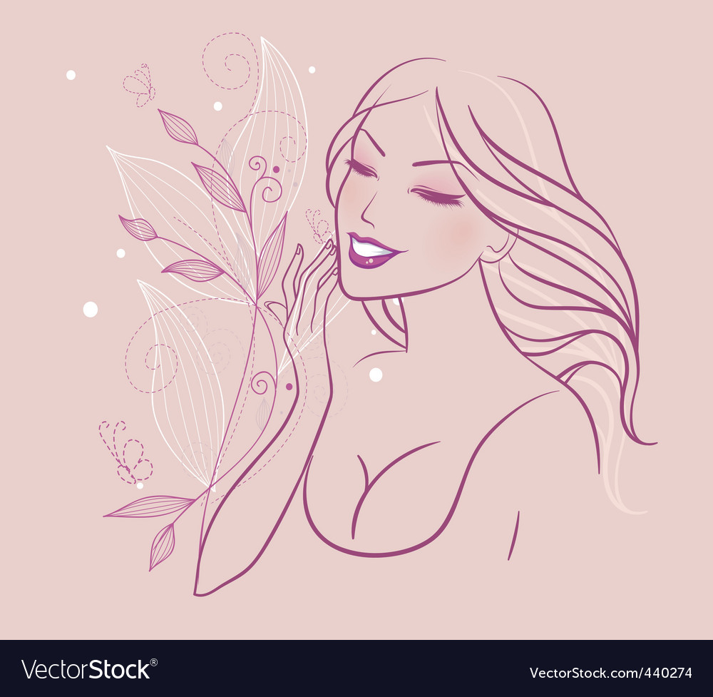 Smile cosmetic floral back vector | Price: 1 Credit (USD $1)