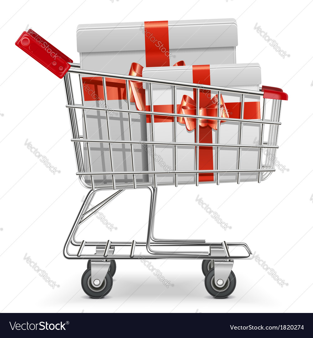 Supermarket cart with gifts vector | Price: 3 Credit (USD $3)