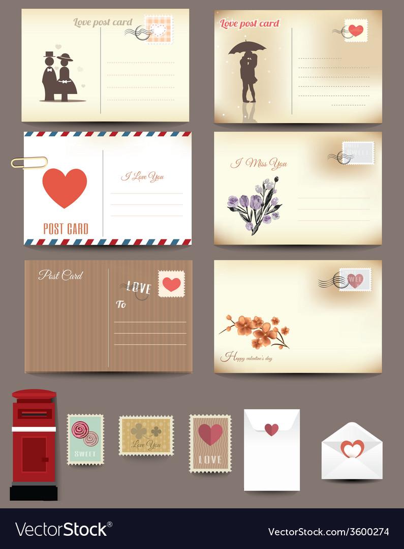 Vintage postcard designs envelopes vector | Price: 1 Credit (USD $1)