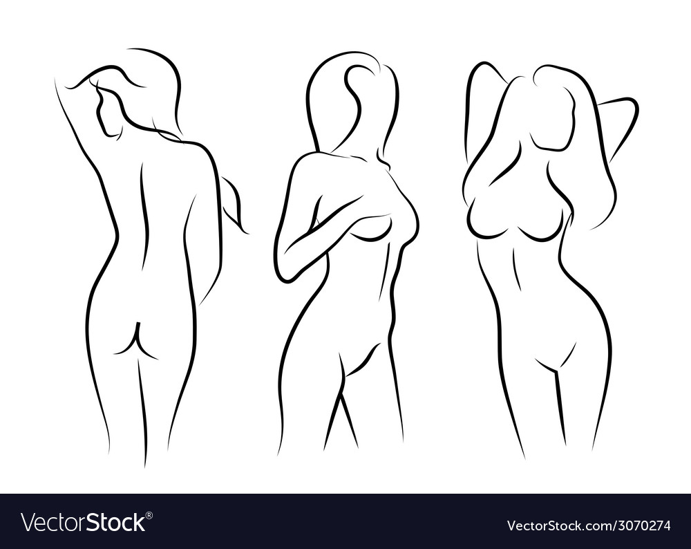 Women naked human beauty body drawing vector | Price: 1 Credit (USD $1)