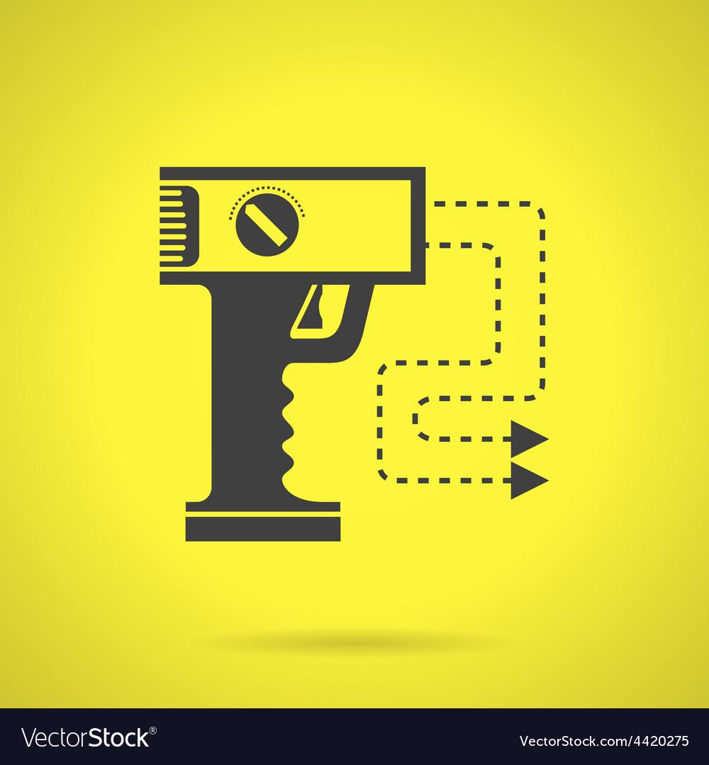 Black stun gun flat icon vector | Price: 1 Credit (USD $1)