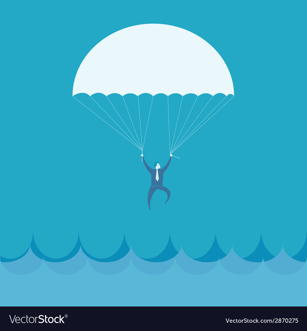 Businessman flying into the sea vector | Price: 1 Credit (USD $1)