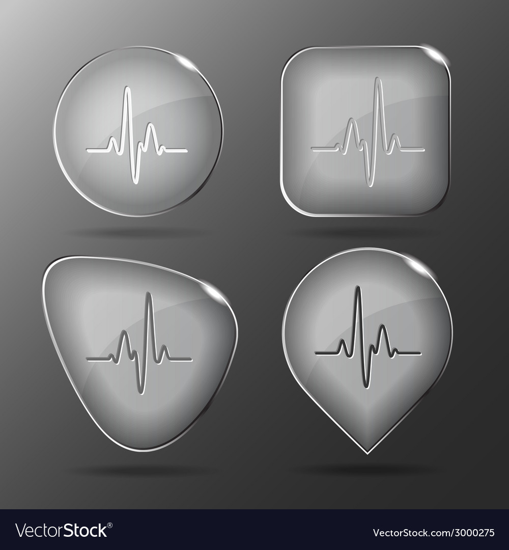 Cardiogram glass buttons vector | Price: 1 Credit (USD $1)