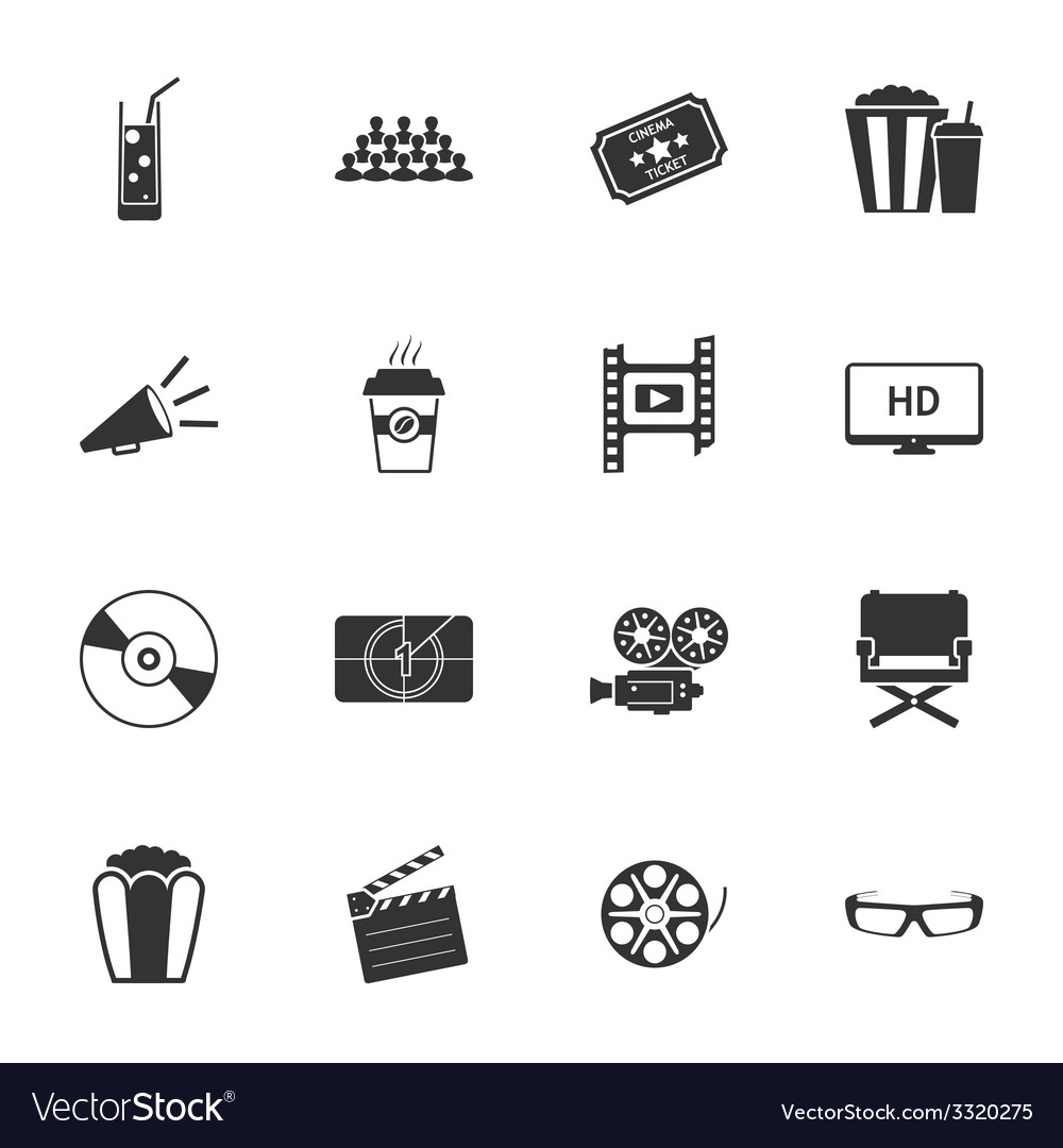 Cinema black and white flat icons set vector | Price: 1 Credit (USD $1)