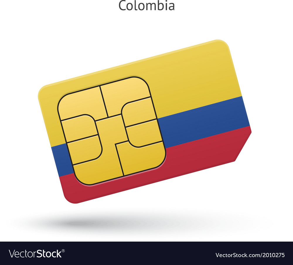 Colombia mobile phone sim card with flag vector   Price: 1 Credit (USD $1)