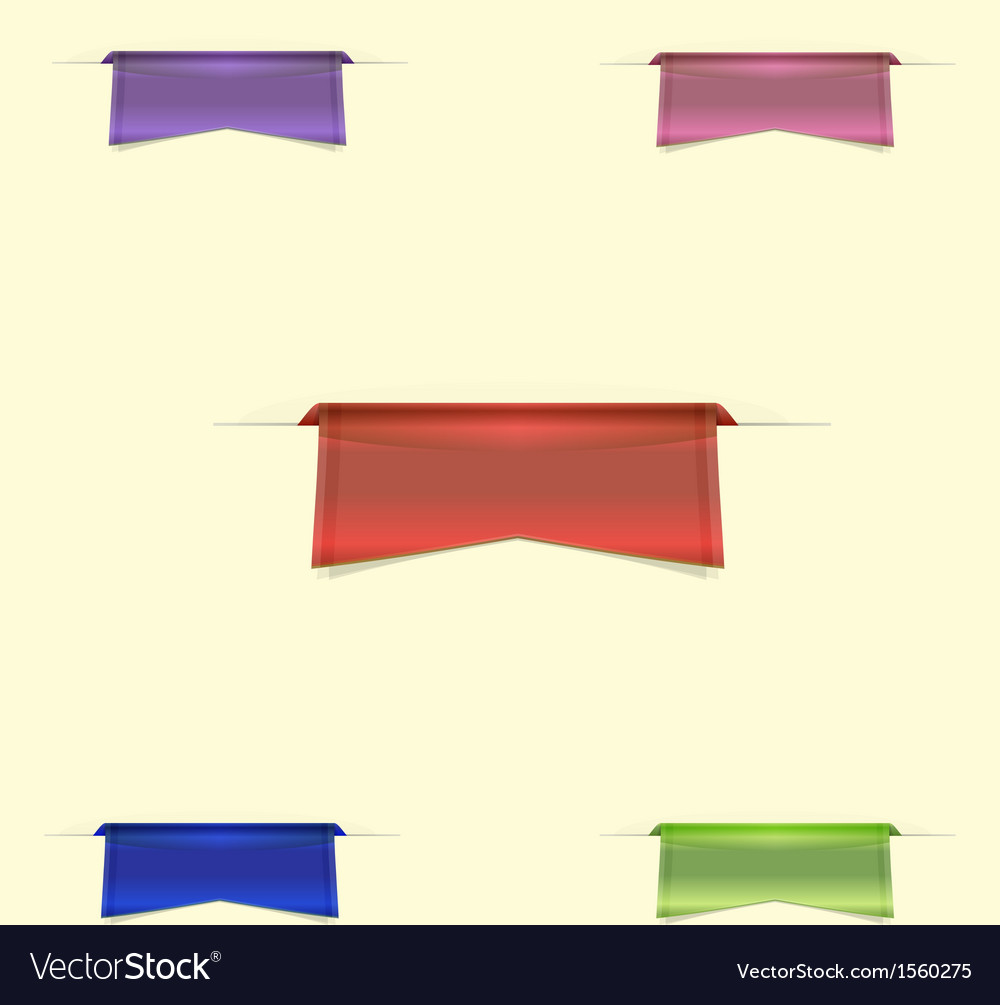 Colorful sleek web ribbons on yellow background vector | Price: 1 Credit (USD $1)
